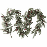 Fraser Hill Farm 9-Ft Snow-Covered Decorative Garland - Frosted with Pinecones and Berries