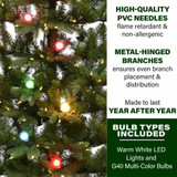 Fraser Hill Farm Green Christmas Half Tree with Clear LED String Lighting and Frosted G40 Multicolor Lighting, Various Size Options