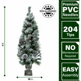 Fraser Hill Farm Set of 2, 4-Ft Christmas Snow Flocked Porch Trees with Oversized Pinecones, Various Lighting Options