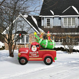 Fraser Hill Farm 8-Ft Long Inflatable Christmas Tree in a Pick-up Truck with LED Lights, Holiday Winter Blow-Up