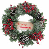 Fraser Hill Farm 24-in Christmas Frosted Wreath with Pinecones, Berries and Plaid Bows