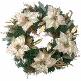 Fraser Hill Farm 24-in Christmas Wreath with Poinsettias, Ornaments and Gold Berries