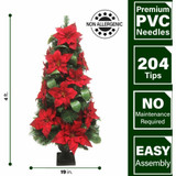 Fraser Hill Farm Set of 2, 4-Ft Christmas Porch Trees, Velvet Poinsettia Blooms and Leaf Accents, Various Lighting Options
