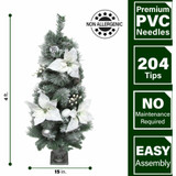 Fraser Hill Farm Set of 2, 4-Ft Christmas Frost Covered Porch Tree, White Poinsettia Blooms, Ornaments, and Pinecones, Various Lighting Options