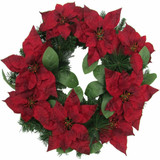 Fraser Hill Farm 24-in Christmas Wreath with Velvet Poinsettia Blooms and Leaves