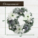 Fraser Hill Farm 24-in Christmas Frost Covered Wreath with White Poinsettia Blooms, Ornaments and Pinecones