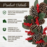 Fraser Hill Farm 24-in Christmas Pinecone Wreath with Red Berries