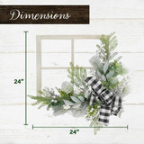 Fraser Hill Farm 24-in Square Window Frame Door Hanging with Greenery and Plaid Bow