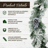 Fraser Hill Farm 6-Ft Christmas Snow Flocked Garland with Pinecones