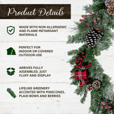 Fraser Hill Farm 24-in Wreath and 6-ft Garland Set, Snow Flocked with Pinecones and Bows