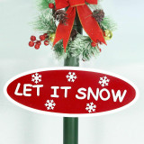 Fraser Hill Farm Let It Snow Series 74-In Double Street Lamp with 1 Santa and 1 Snowman, Animated Musical Snow Decoration