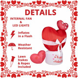 Fraser Hill Farm 8-Ft Tall Valentines Day Heart, Blow Up Inflatable with Lights and Storage Bag