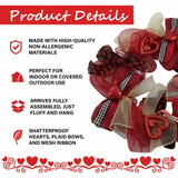 Fraser Hill Farm 20-In Valentines Day Ribbon Wreath Door or Wall Hanging with Shatterproof Hearts and Buffalo Plaid Bows
