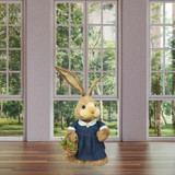 Fraser Hill Farm 34-In Sisal Mrs Bunny with Carrot Basket, Cute Easter Rabbit Figurine, Spring Decoration
