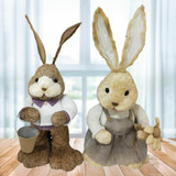 Fraser Hill Farm 15-In Sisal Mr and Mrs Bunny Pair, Cute Easter Rabbit Figurine, Spring Decoration