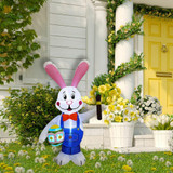 Fraser Hill Farm 4-Ft Tall Bunny Rabbit Painting an Easter Egg, Outdoor/Indoor Blow Up Spring Inflatable with Lights