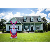 Fraser Hill Farm 12-Ft Tall Bunny Rabbit Holding a Happy Easter Banner, Blow Up Spring Inflatable with Lights