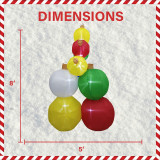 Fraser Hill Farm 8-Ft Tall Inflatable Stack of 9 Ornament Balls with LED Lights, Holiday Winter Blow-Up