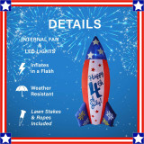 Fraser Hill Farm 10-Ft Tall Americana July 4th Rocket, Outdoor Blow Up Inflatable with Lights