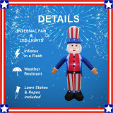 Fraser Hill Farm 8-Ft Tall Uncle Sam, Outdoor Blow Up Inflatable with Lights