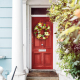 Fraser Hill Farm 24-inch Spring Wreath Door Hanging with Peony, Hydrangea, and Dahlia Blooms