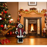 Fraser Hill Farm 24-In Black Bear Figurine with Lighted Candle, Gifts, Animation, and Music 8 Songs - Christmas Holiday Decoration