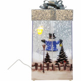 Fraser Hill Farm Let It Snow Series 12-In Christmas Gift Shadowbox with Snowman and Silver Bow, Animated Musical Snow Decoration