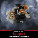 Haunted Hill Farm Haunted Hill Farm 1.25-ft Halloween Bouquet Decoration Piece with Black and Off-White Flowers and Skull, HHBOQSKL-2
