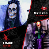 Haunted Hill Farm Haunted Hill Farm 5-Ft Animatronic Voodoo Lady, Indoor/Covered Outdoor Halloween Decoration, Red LED Eyes, Battery-Operated, Martina, HHBRIDE-5FLS