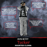 Haunted Hill Farm Haunted Hill Farm 5.75-Ft Animatronic Clown, Indoor/Covered Outdoor Halloween Decoration, Red LED Eyes, Poseable, Battery-Operated, Tucker, HHCLOWN-16FS