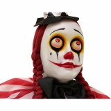 Haunted Hill Farm Haunted Hill Farm 5.4-ft Standing Clown, Indoor/Covered Outdoor Halloween Decoration, LED Red Eyes, Poseable, Battery-Operated, Buffy, HHCLOWN-18FLS