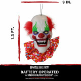Haunted Hill Farm Haunted Hill Farm 1.3-ft Animated Clown, Talks, Battery Operated Halloween Decoration for Indoor/Covered Outdoor Display, HHDHCLOWN-1LSA