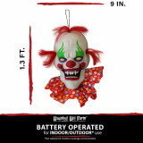 Haunted Hill Farm Haunted Hill Farm 1.3-ft Animated Clown, Talks, Battery Operated Halloween Decoration for Indoor/Covered Outdoor Display, HHDHCLOWN-4LSA