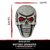 Haunted Hill Farm Haunted Hill Farm 2.5-ft Skeleton Skull with Glowing Red Eyes, Battery Operated Halloween Decoration for Indoor/Covered Outdoor Display, HHDHSKULL-4LS
