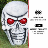 Haunted Hill Farm Haunted Hill Farm 1.7-ft Skeleton Skull with Glowing Red Eyes, Battery Operated Halloween Decoration for Indoor/Covered Outdoor Display, HHDHSKULL-5LS
