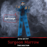 Haunted Hill Farm Haunted Hill Farm 5.5-Ft Animatronic Doctor, Indoor/Covered Outdoor Halloween Decoration, Red LED Eyes, Laughing, Surgeon Marrow, HHDOC-2FLSA