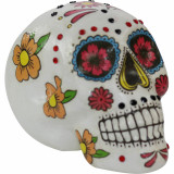 Haunted Hill Farm Haunted Hill Farm 5.5-in Off-White Sugar-Skull Inspired Day of the Dead Decorative Skulls, Set of 3, HHDODSKL1-SET3