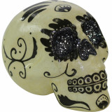 Haunted Hill Farm Haunted Hill Farm 5.5-in Off-White and Black Sugar-Skull Inspired Day of the Dead Decorative Skulls, Set of 4, HHDODSKL2-SET4