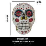 Haunted Hill Farm Haunted Hill Farm 5.5-in White Sugar-Skull Inspired Day of the Dead Decorative Skull with Yellow, Pink, Black, and Blue accents, HHDODSKL-5S