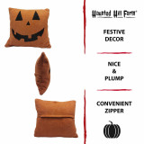 Haunted Hill Farm Haunted Hill Farm 15.5-In Happy Jack OLantern Accent Pillow, Indoor Halloween Decoration, Orange, HHFHLWNPLW-ORG1