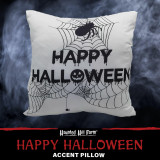 Haunted Hill Farm Haunted Hill Farm 15.5-In Happy Halloween Spider Web Accent Pillow, Indoor Spooky Decoration, White, HHFHLWNPLW-WHT1