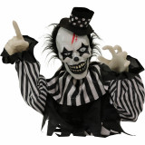 Haunted Hill Farm Haunted Hill Farm 1.8-ft Groundbreaker Clown, Indoor/Covered Outdoor Halloween Decoration, Red LED Eyes, Poseable, Battery-Operated, Vile, HHFJCLOWN-2LSA