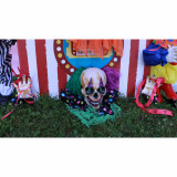 Haunted Hill Farm Haunted Hill Farm 3.25-ft Groundbreaker Clown, Indoor/Covered Outdoor Halloween Decoration, Flashing Green Eyes, Battery-Operated, Claw, HHFJCLOWN-3LS