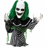 Haunted Hill Farm Haunted Hill Farm 2-ft Animated Clown, Indoor/Covered Outdoor Halloween Decoration, Red LED Eyes, Poseable, Battery-Operated, Absinthe, HHFJCLOWN-5LSA