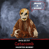 Haunted Hill Farm Haunted Hill Farm 1.6-ft Mummy Groundbreaker, Indoor/Covered Outdoor Halloween Decoration, Red LED Eyes, Poseable, Battery-Operated, Catacomb, HHFJMUM-1LSA