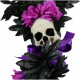 Haunted Hill Farm Haunted Hill Farm 6-ft Gothic Skull Garland with Pink and Purple Flowers, Halloween Decoration, HHGARSKL-1