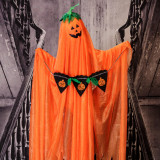 Haunted Hill Farm Haunted Hill Farm 3.3-ft Orange Ghost with Stake/Pumpkin Scroll, Indoor/Covered Outdoor Halloween Decoration, Poseable, Kid-Friendly, HHGHST-3STK