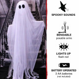 Haunted Hill Farm Haunted Hill Farm 5-ft Animatronic Ghost, Indoor/Outdoor Halloween Decoration, Red LED Eyes, Poseable, Battery-Operated, Griffin, HHGHST-4FLSA