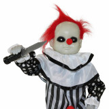 Haunted Hill Farm Haunted Hill Farm 2.6-ft Animatronic Clown, Indoor/Outdoor Halloween Decoration, Red LED Eyes, Poseable, Battery-Operated, Master Chuck, HHMNCLW-1FLSA