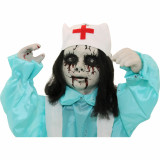 Haunted Hill Farm Haunted Hill Farm 1.8-ft Animatronic Nurse, Indoor/Outdoor Halloween Decoration, Red LED Eyes, Poseable, Battery-Operated, Carrie, HHMNNURS-1FLS